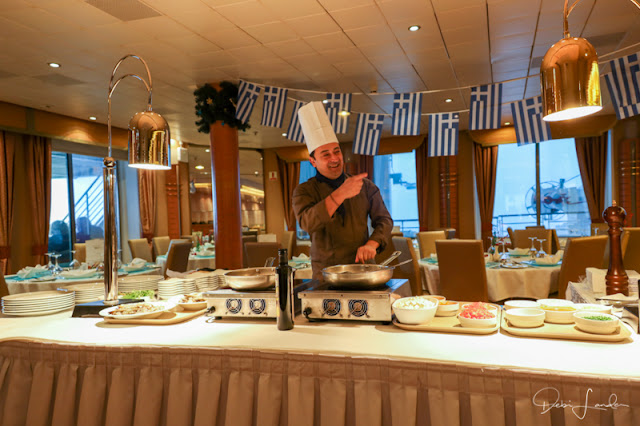 Chef is ready for a cooking demonstration.