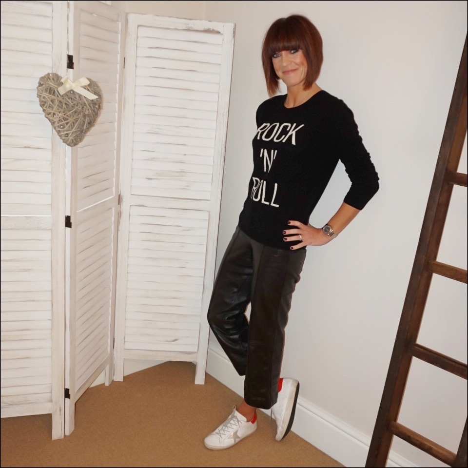 my midlife fashion, hush roxie cashmere jumper, marks and spencer straight leg leather trousers, golden goose superstar low top leather trainers
