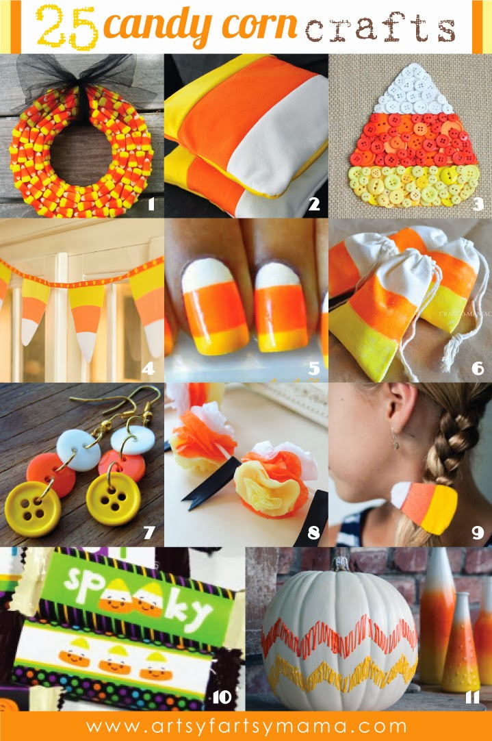25 Candy Corn Crafts at artsyfartsymama.com #candycorn #Halloween
