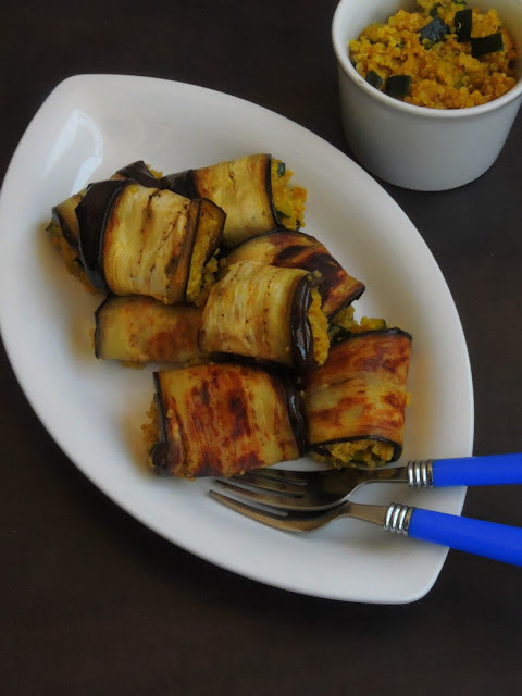 Gluten free Quinoa Stuffed Eggplant Rolls