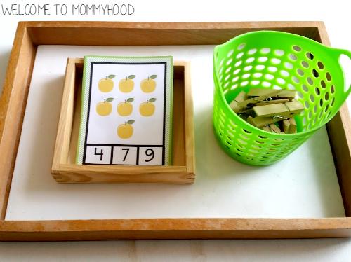 Free apple number clip cards for preschoolers by Welcome to Mommyhood #preschoolactivities, #homeschool, #freeprintables, #fallactivitiesforkids