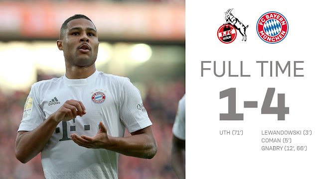 Cologne 1-4 Bayern Munich, Gnabry Scored Twice With Lewandowski Stunner (Video Highlight)
