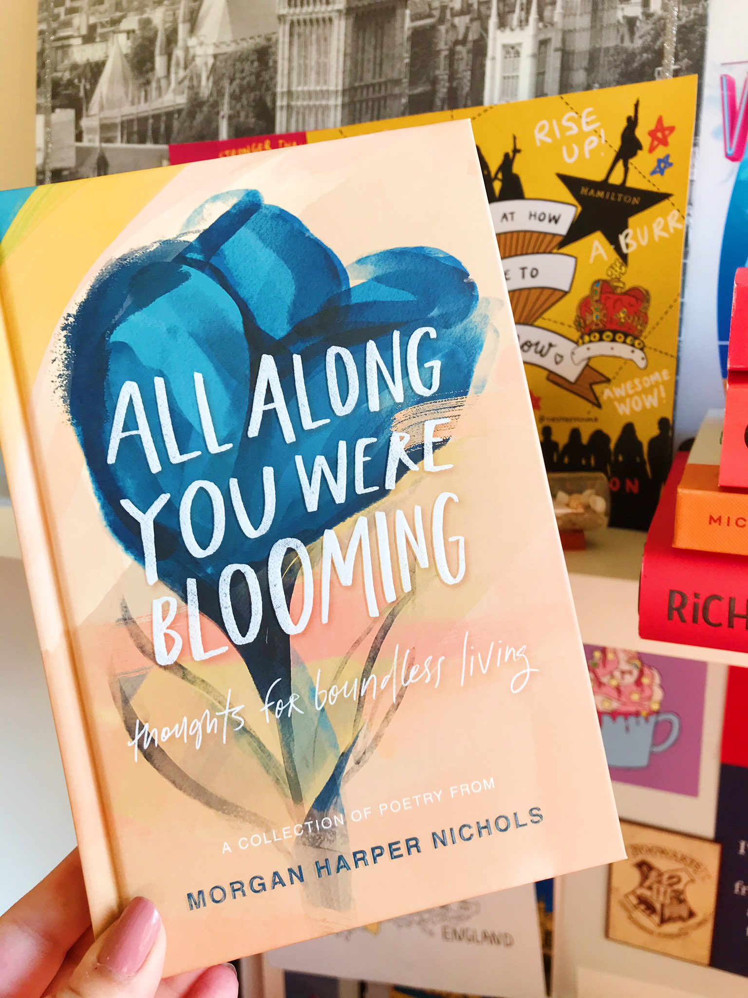 All Along You Were Blooming by Morgan Harper Nicholls held up in front of desk