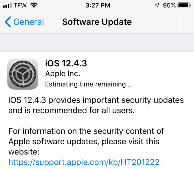 Apple iOS 12.4.3 Features Changelog