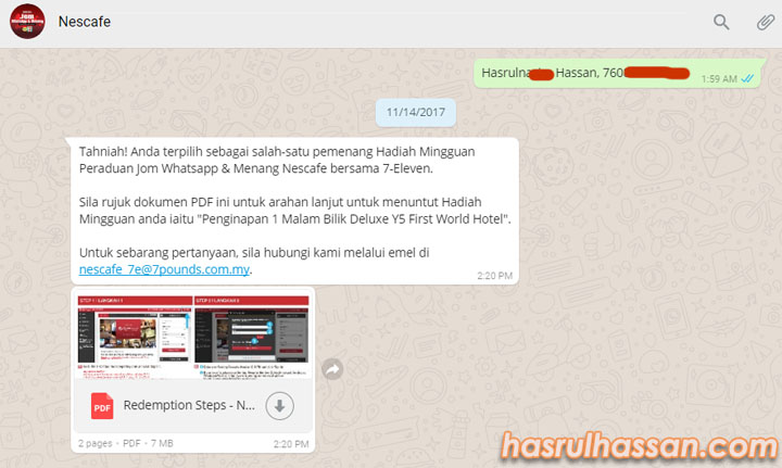 Menang Penginapan Y5 First World Hotel Contest WhatsApp Nescafe-7 Eleven