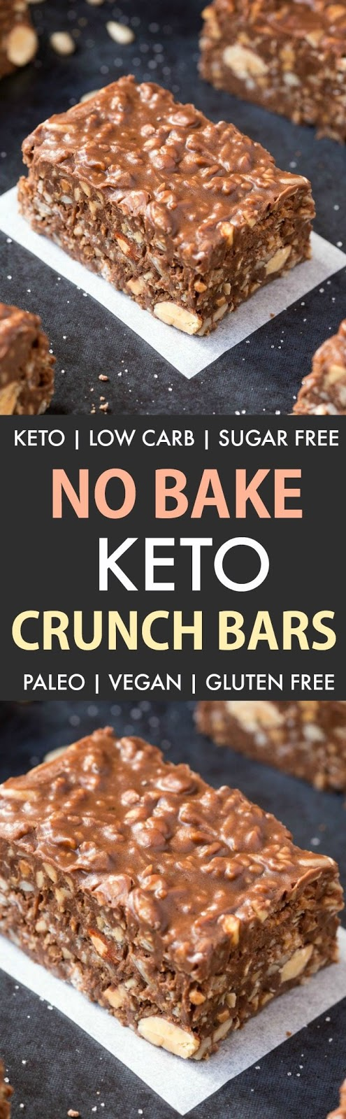 Homemade Keto Chocolate Crunch Bars (Paleo, Vegan, Low Carb)