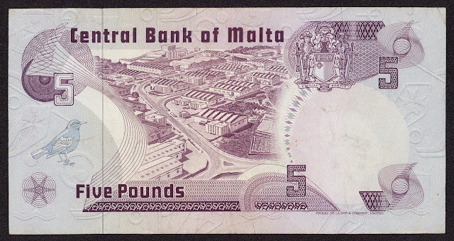 Malta money currency 5 Maltese Lira banknote 1979 Marsa industrial Estate