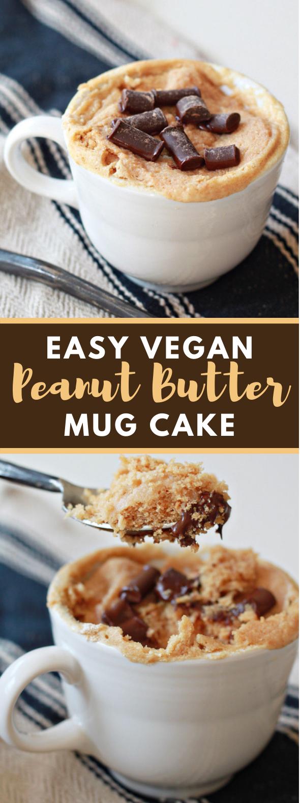 EASY VEGAN PEANUT BUTTER MUG CAKE #vegetarian #dessert