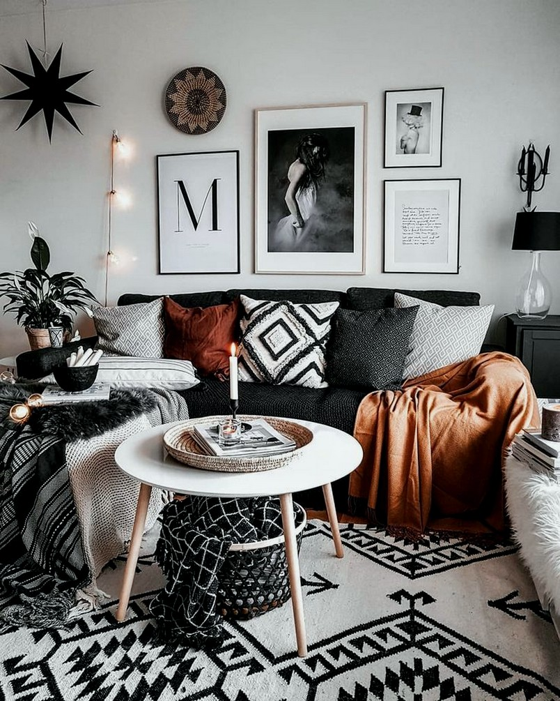 great boho living room interior design idea