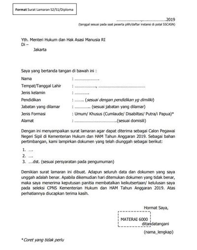 Format Surat Lamaran S2, S1, dan Diploma CPNS 2019 Kemenkumham