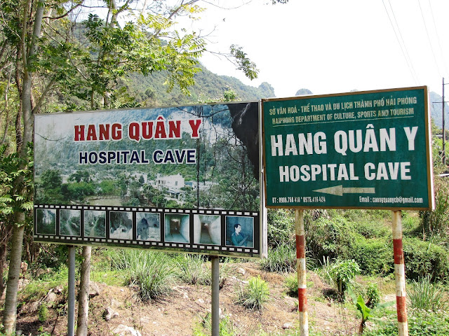 sign hospital cave cat ba halong bay vietnam