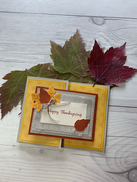 Fall Greeting card with leaves from 2021 September Haunts & Harvest Paper Pumpkin Kit