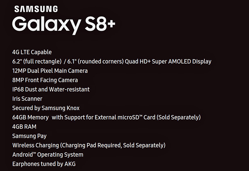 Leaked specs of Samsung Galaxy S8+