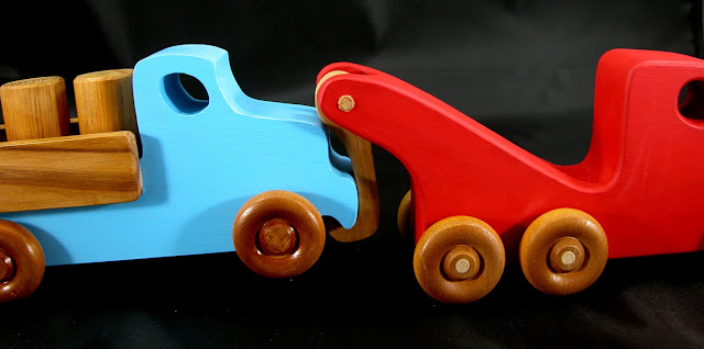 Handmade Wooden Toy Tow Truck From The Quick N Easy 5 Truck Fleet - Red Version - Towing the Lorry Truck