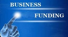 Funding the business of a startup Text in blue white