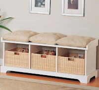 Modern casual storage entryway bench with baskets and cushions