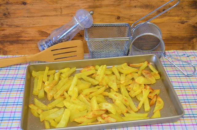Las delicias de Mayte, patatas fritas al horno rápidas, como hacer patatas fritas al horno, patatas fritas sin apenas aceite, patatas fritas al horno sin aceite, patatas al horno, patatas fritas sin grasa,