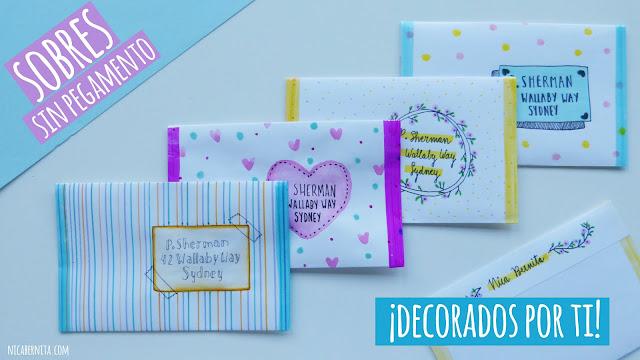 sobres para cartas sin pegamento y cuatro ideas para decorar sobres blancos. Nica Bernita