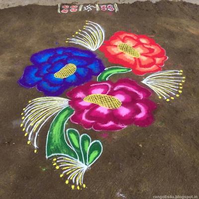 Colorful Flower Rangolis