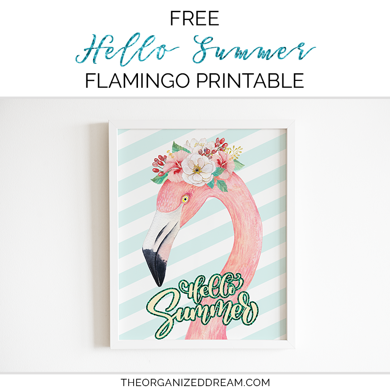 graphic regarding Summer Printable identified as Totally free Howdy Summer time Flamingo Printable - The Geared up Desire