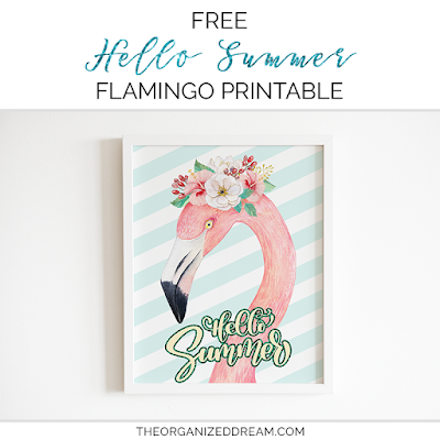 Free Hello Summer flamingo printable. #printables #summer #hellosummer