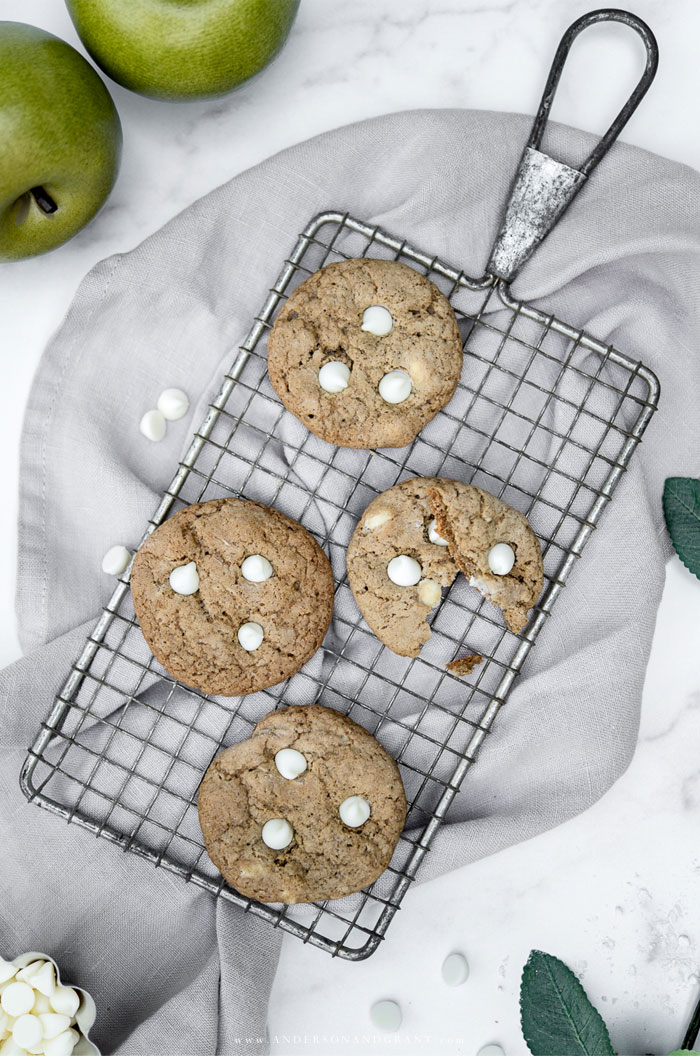 Apple Pie Chocolate Chip Cookies on wire rack