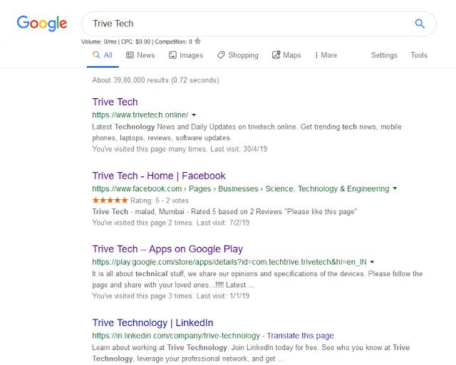 Google new search menu