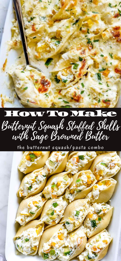 Butternut Squash Stuffed Shells with Sage Browned Butter #dinnerrecipe #food #amazingrecipe #easyrecipe