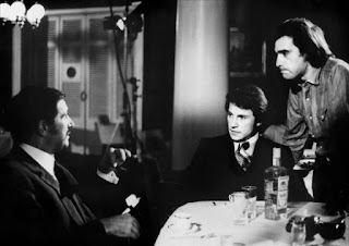 Danova (left) on the set of Mean Streets with Harvey Keitel and director Martin Scorsese