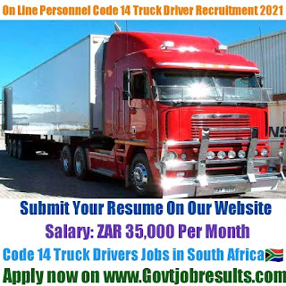 On Line Personnel Code 14 Truck Driver Recruitment 2021-22