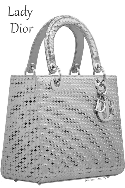 Silver-tone metallic calfskin Lady Dior bag #brilliantluxury