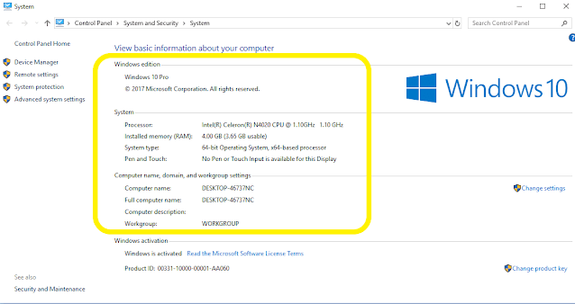 how to find my computer specs