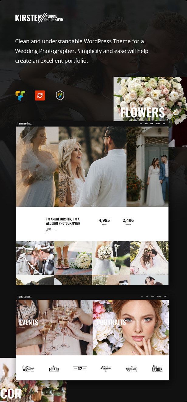 Clean Wedding Photography Wordpress Theme Review - Kirsten