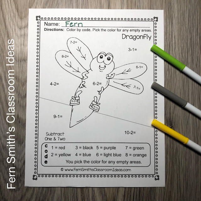 Spring Bug Fun Color By Number Addition and Subtraction Worksheets Bundle #FernSmithsClassroomIdeas