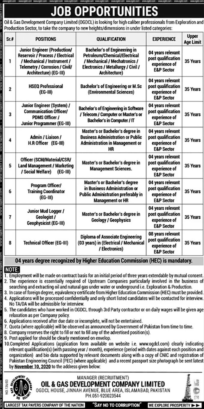 JOBS | (OGDCL) Oil & Gas Development Company Limited | JOBS