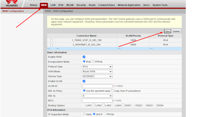 Setting Modem Indihome Huawei HG8245H WAN Configuration
