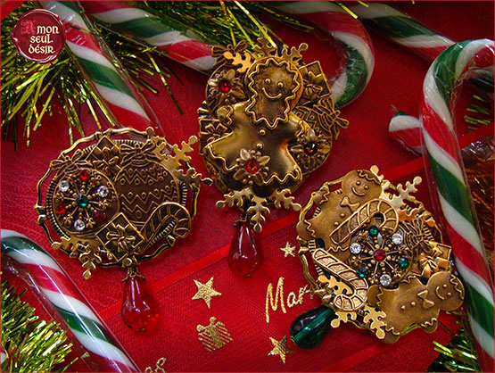 broches fetes noel celebration sapin cadeaux guirlande bonhomme en pain d epices gingerbread man brooch christmas jewelry gift present Xmas