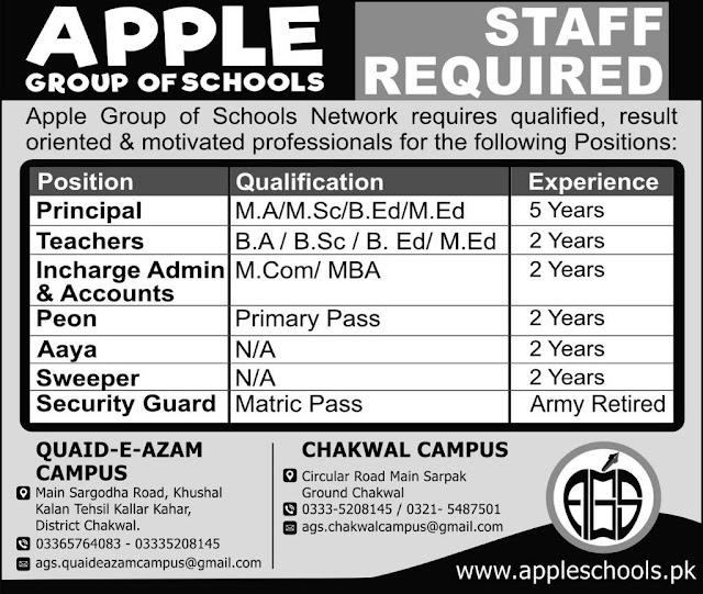 Teachers Jobs in Chakwal Apple Group of Schools Jobs