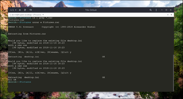 Unrar Linux
