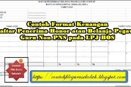Contoh Format Keuangan Daftar Penerima Honor atau Belanja Pegawai Guru Non PNS pada LPJ BOS