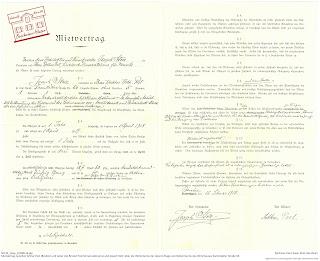 Bensheimer Häuser - damals und heute - Mietvertrag zwischen Joseph Stoll und Arthur Post für die Mietwohnung Darmstädter Straße 50 in Bensheim von 1918.