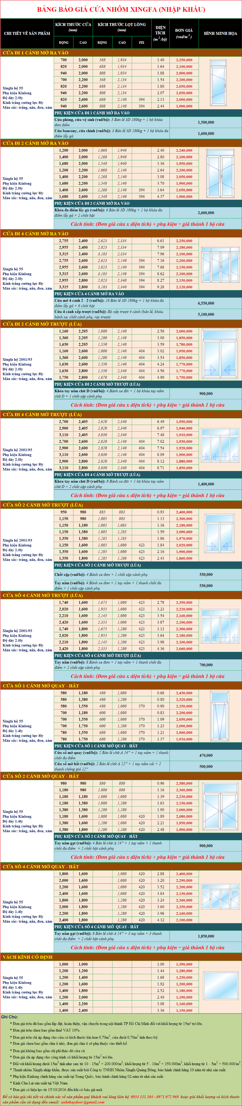 Bảng báo giá cửa nhôm cao cấp Xingfa chính hãng năm 2017