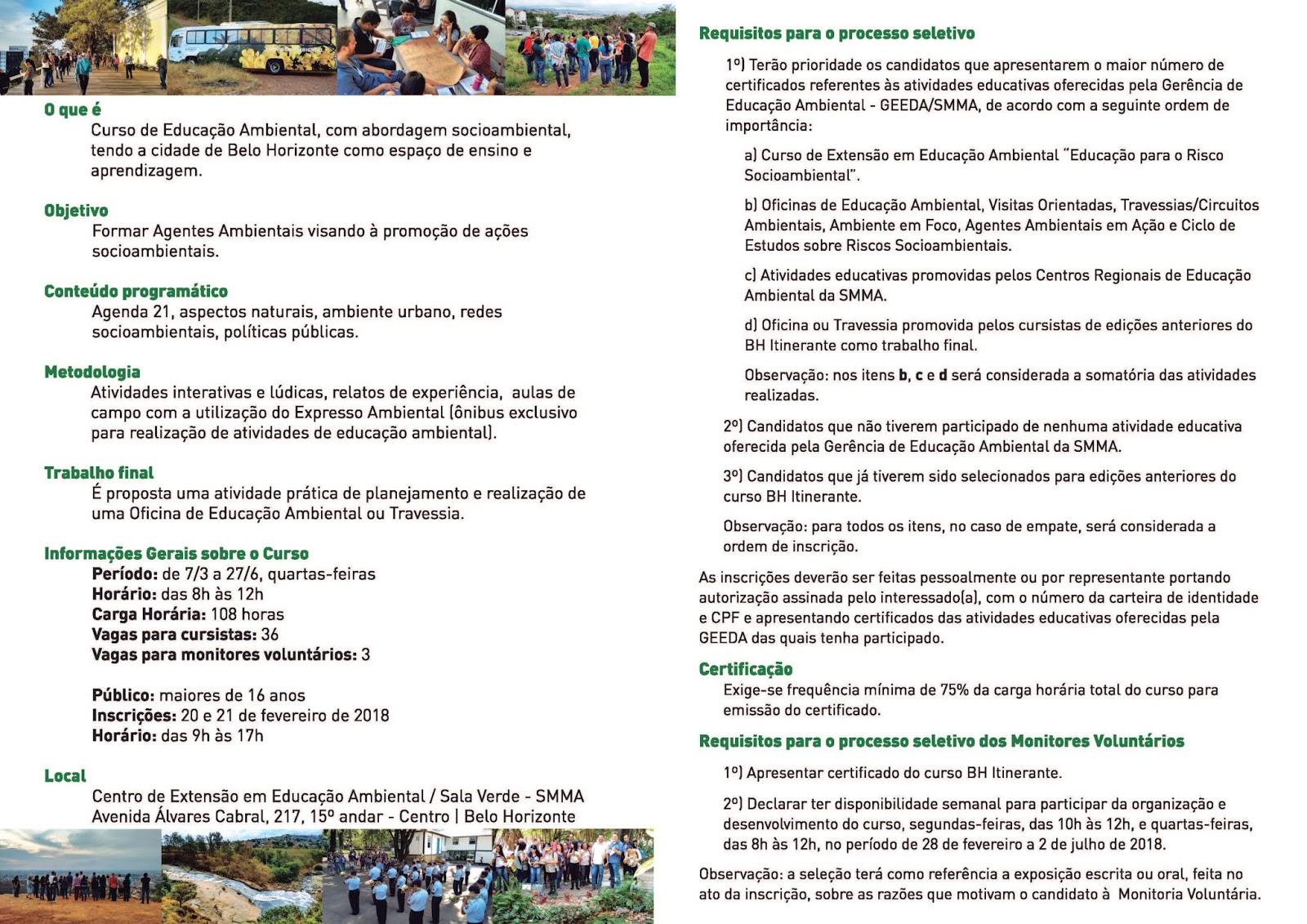 Extremamente Biologia na Rede: 36º Curso de Extensão em Educação Ambiental da PBH LO99