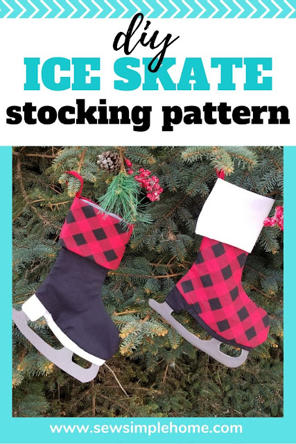 Sew up a fast ice skate stocking with this free Christmas stocking template as a PDF sewing pattern and SVG cut file