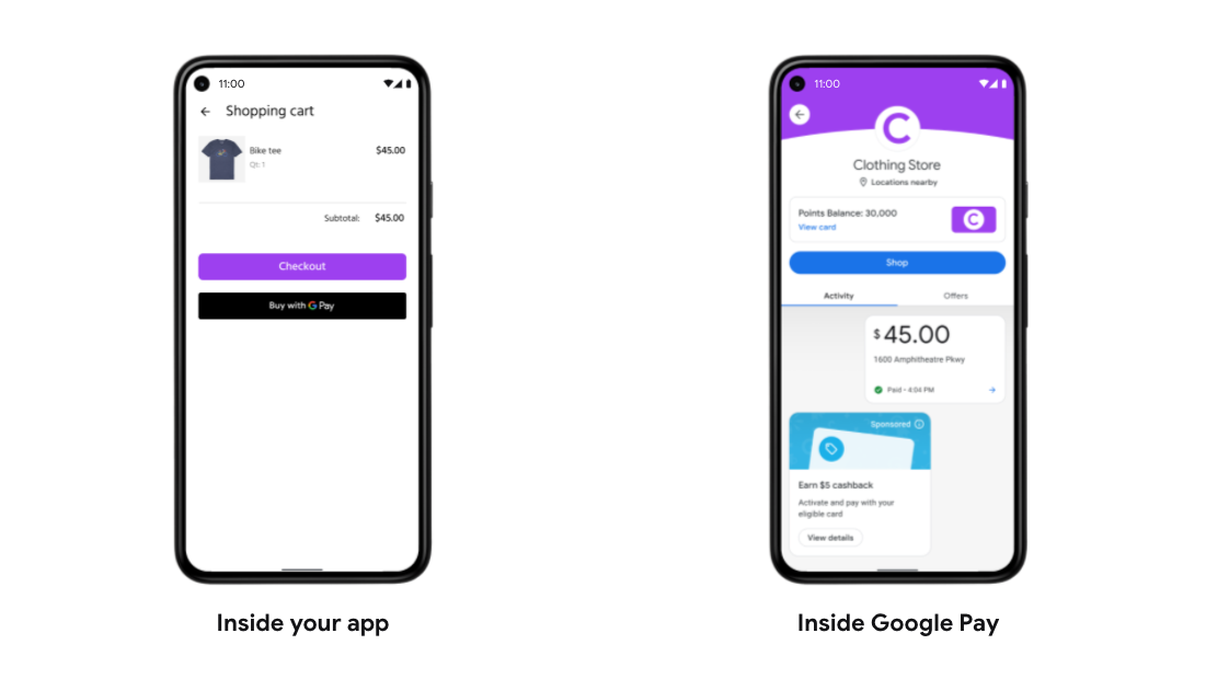 Two phones showing inside your app and inside google pay