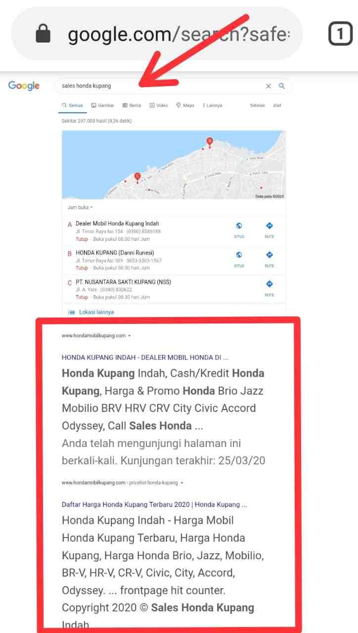 jasa SEO di Bali website Honda Kupang Indah