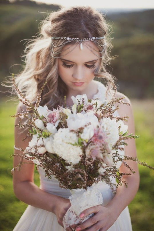 rustic outdoor wedding boho-inspired masterpiece bouquets