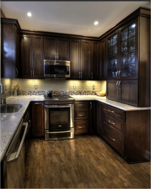 Dark Wood Kitchen Cabinets Home Interior Exterior Decor Design Ideas