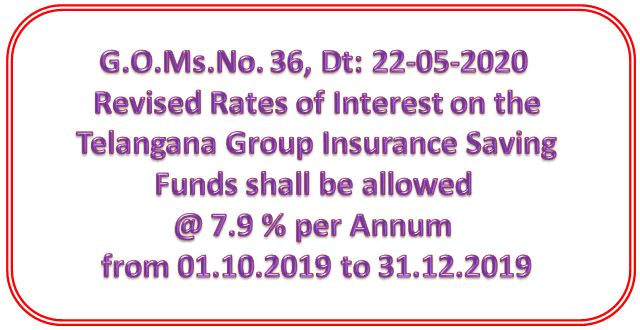 G.O.Ms.No. 36, Dt: 22-05-2020 - Revised Rates of Interest on the Telangana Group Insurance Saving Funds shall be allowed @ 7.9 % per Annum from 01.10.2019 to 31.12.2019