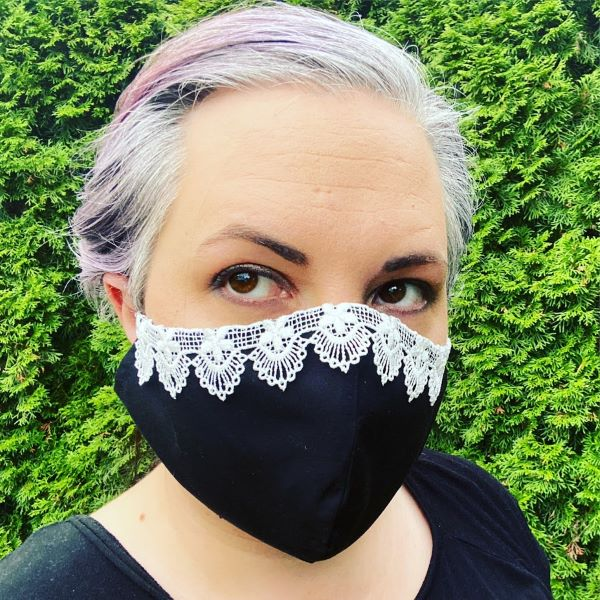 Black face mask with lace inspired by justice ruth bader ginsburg